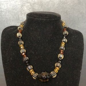 Hand designed multi beaded glass necklace.